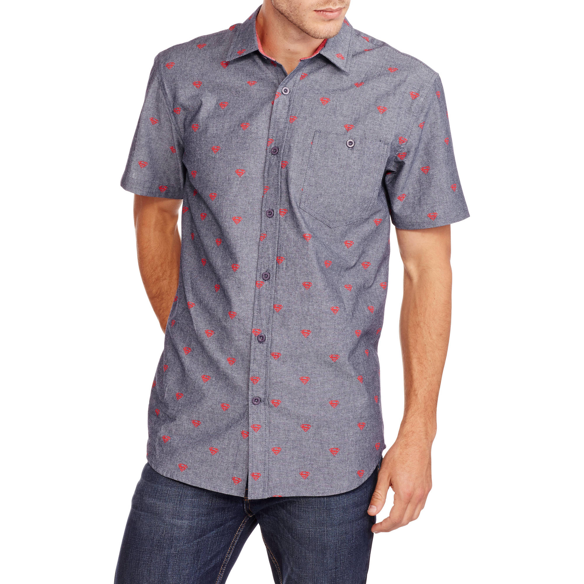 Superman Men's Short Sleeve All Over Printed Woven Shirt