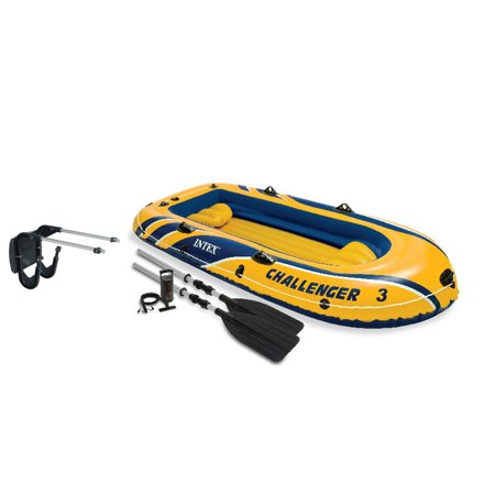 Intex Challenger 3 Boat 2 Person Raft & Oar Set Inflatable with Motor Mount -