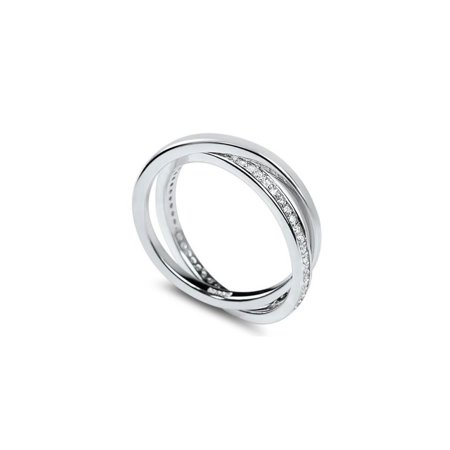 Crossed Wedding Bands.Criss Cross Eternity Silver Cz Band Crossed Micro Pave Set Interconnected