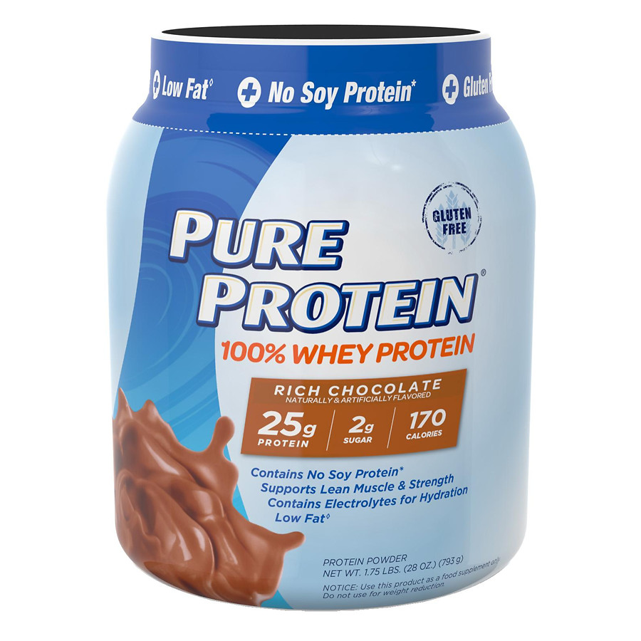 Pure Protein 100% Whey Protein Shake Powder Rich Chocolate28.0 oz.(pack of 4)