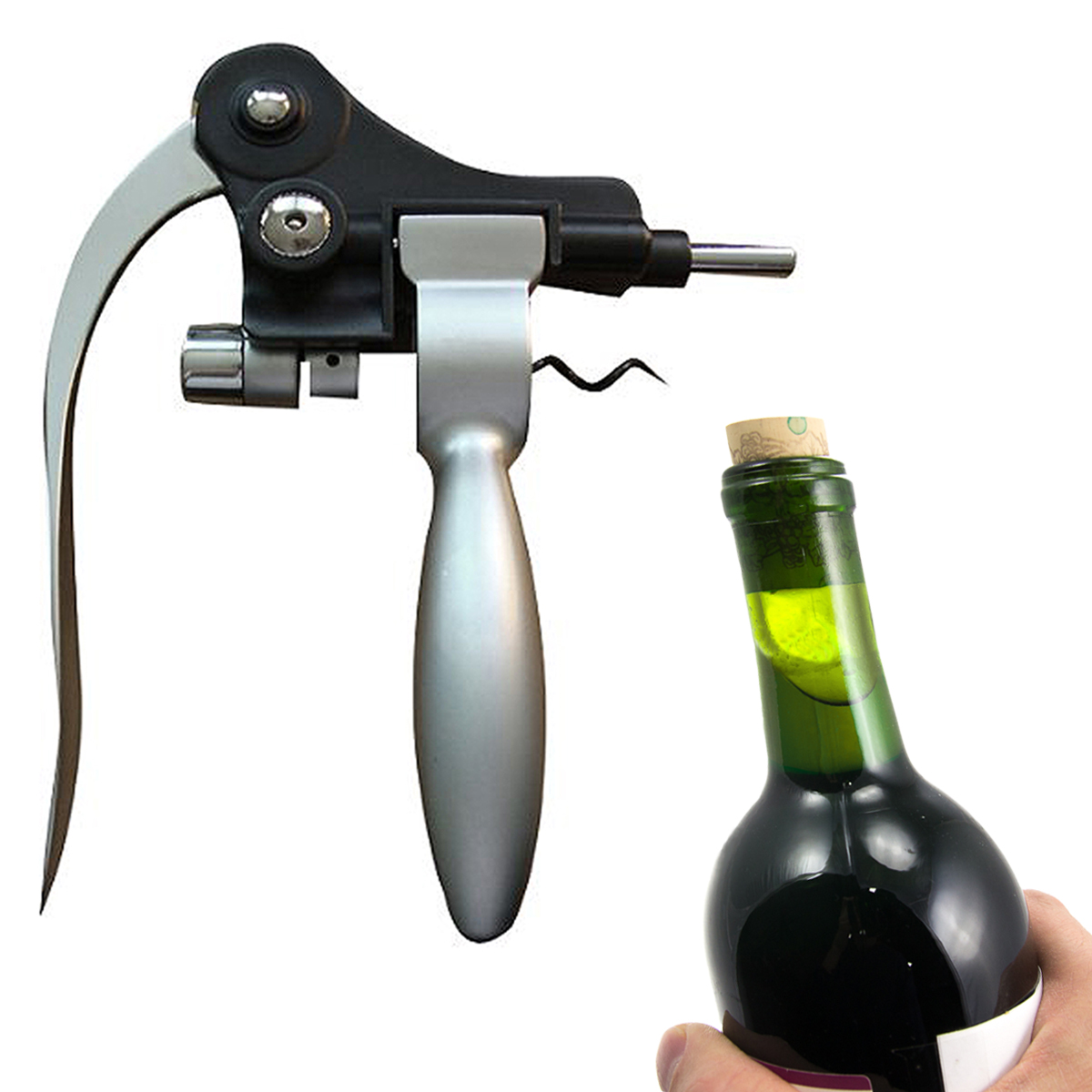 Bar Pro Silver Lever Operated Wine Bottle Opener Set Replacement Corkscrew 1241