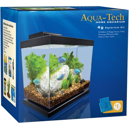 Aqua tech 4 gallon home aquarium kit for Cheap 5 gallon fish tank