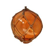 Handcrafted Decor 10 Orange Glass - Old Orange Japanese Glass Ball Fishing Float with Brown Netting Decoration, 10 in.