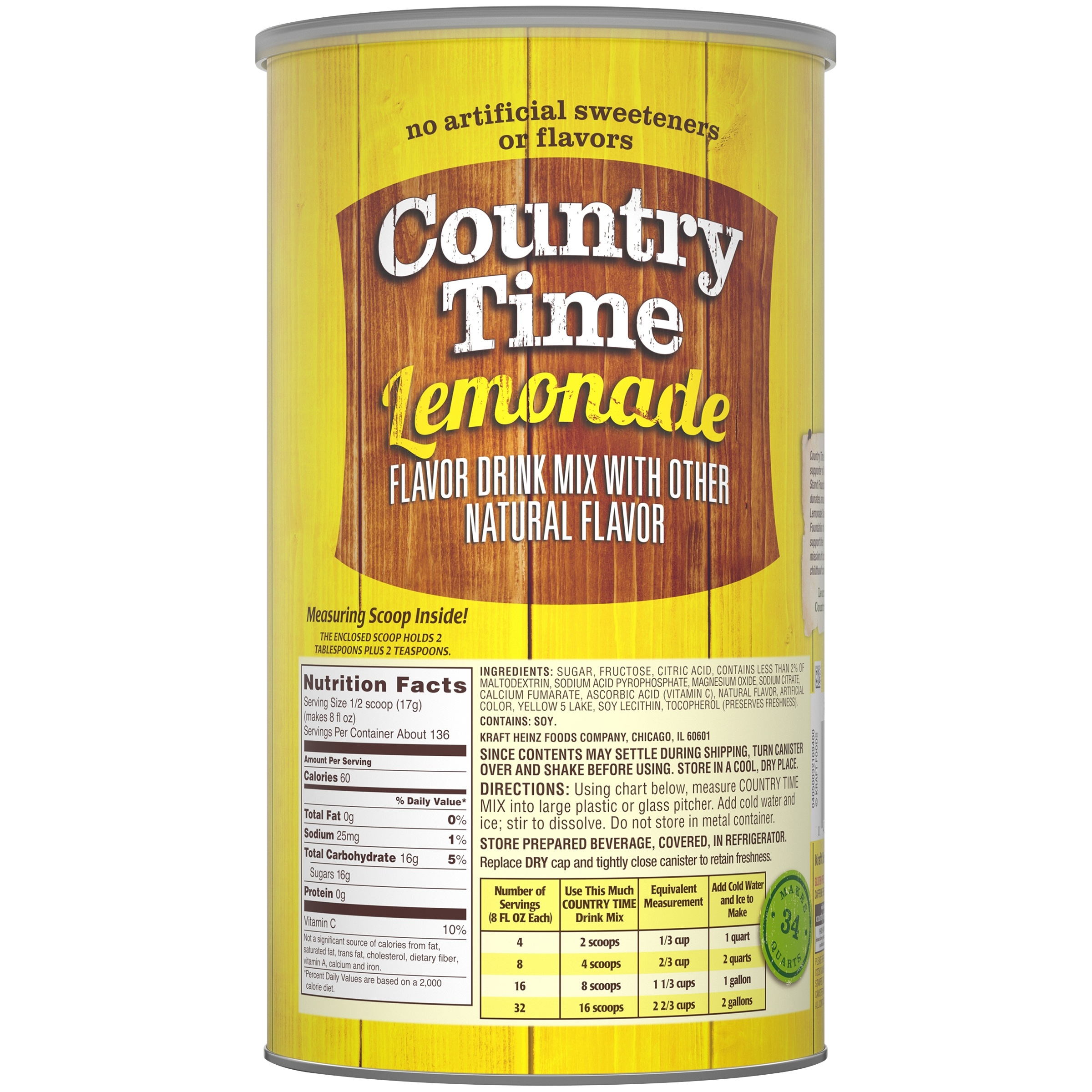 Country Time Flavored Drink Mix Lemonade 825 Ounce Canister
