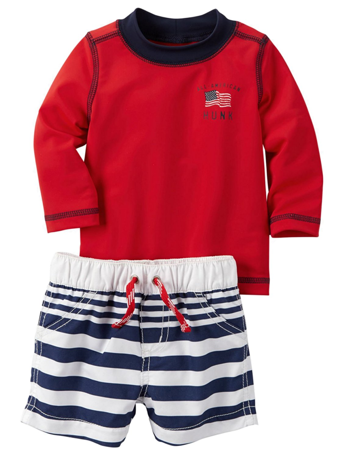 Carters Infant Boy All American Hunk Patriotic Rash Guard Swim Trunks Set 3m