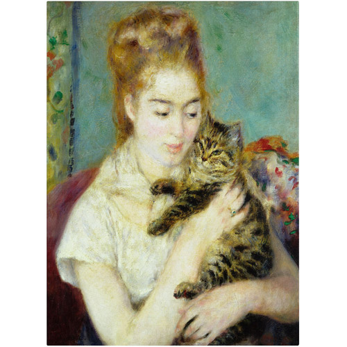 "Trademark Fine Art ""Woman With a Cat"" 1875 Canvas Art by Pierre-Auguste Renoir"