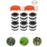 """GLiving String Trimmer Replacement Spool Line 30ft  0.065"""" for Black Decker AF-100,12 Replacement Spools + 2 Pack RC-100-P Caps and Springs"""