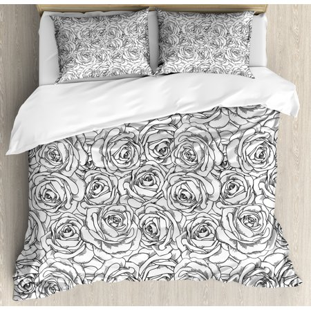 Black and White Queen Size Duvet Cover Set, Romantic Nature Symbols in Sketch Art Style Monochromatic Rose Bouquet, Decorative 3 Piece Bedding Set with 2 Pillow Shams, Black White, by Ambesonne ()