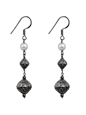 824acbfab Product Image Sterling Silver 6.02 Carat Grey Diamond & Pearl Earring. Orchid  Jewelry