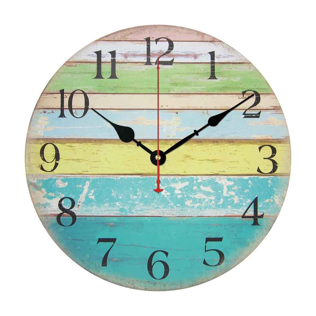 12-Inch Wall Clock, Vintage Rustic Country Tuscan Style Silent Wooden Wall Clock Home... by
