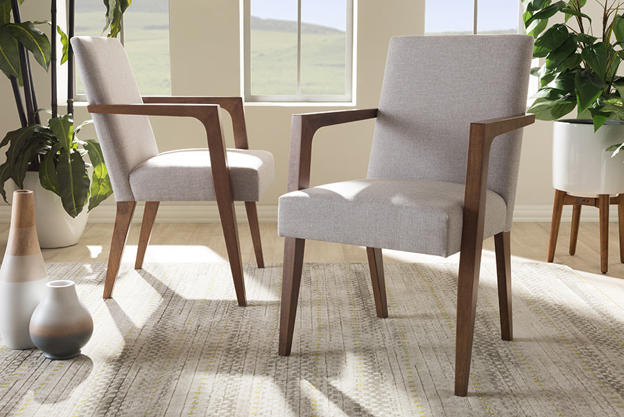 Baxton Studio Andrea Mid-Century Modern Greyish Beige Upholstered Wooden Armchair by Wholesale Interiors