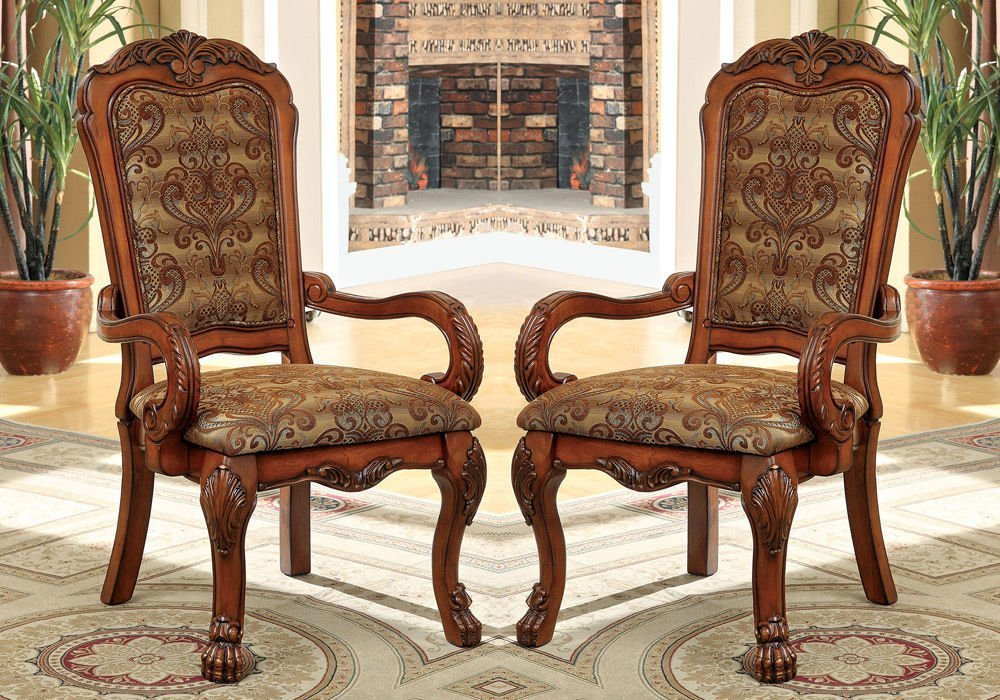 1PerfectChoice Medieve 2 pcs Formal Dining Armchairs Fabric Floral Pattern Antique Oak Wood by 1PerfectChoice