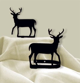 Village Wrought Iron CUR-TB-3 Deer Tie Backs