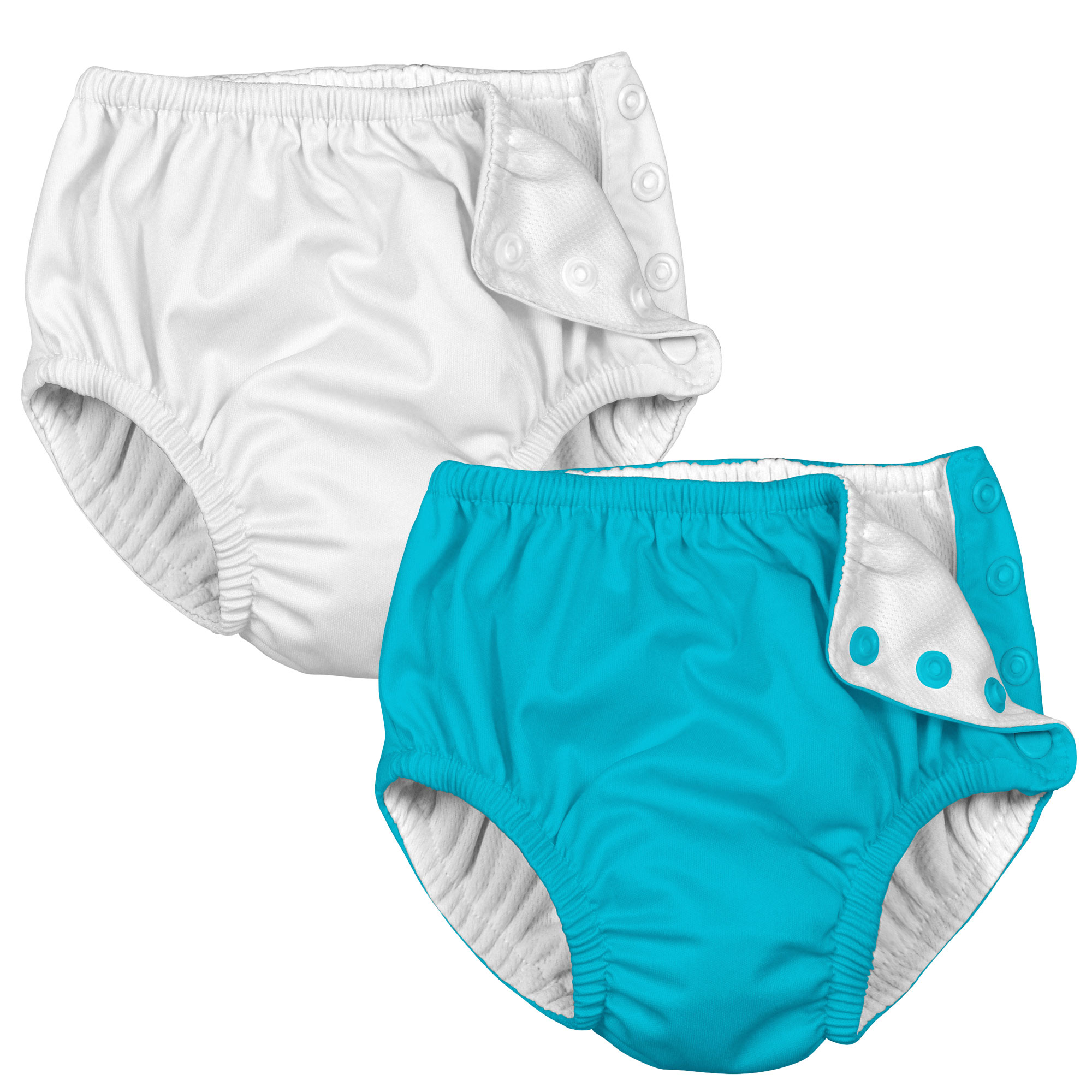 i play Baby and Toddler Snap Reusable Swim Diaper - White and Aqua Blue - 2 Pack