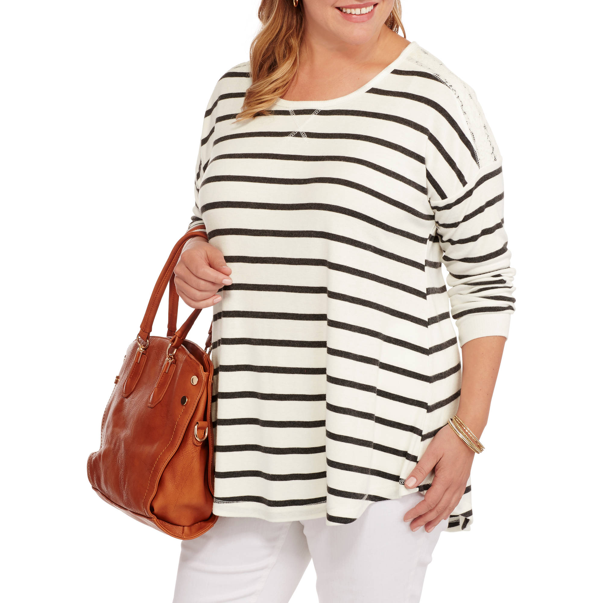 French Laundry Women's Plus Crew Neck Swing Top with Lace Trim