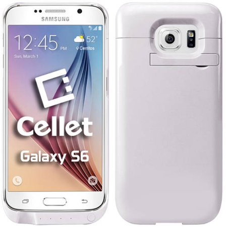 purchase cheap 18c51 f969b Cellet 3200mAh Rechargeable External Battery Case for Samsung Galaxy S6,  White