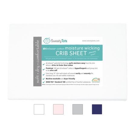 (White) Moisture Wicking Fitted Crib Sheet for Sweaty, Leaky, Drooly Sleepers - Jersey Knit, Fits Standard Crib and Toddler Mattresses, Features Patented Drirelease(R) Moisture Wicking