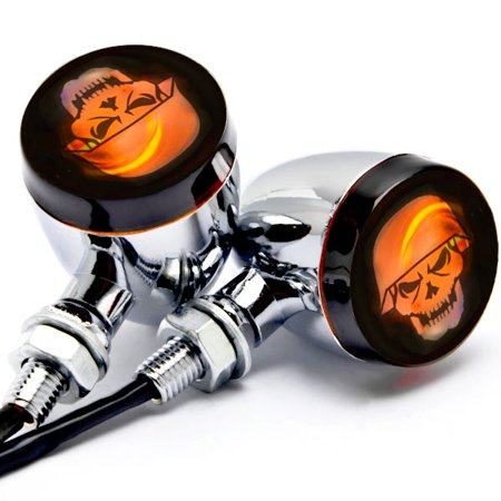 Krator 2pc Skull Lens Chrome Motorcycle Turn Signals Bulb For Kawasaki VN Vulcan Classic Drifter - Chrome Motorcycle Accessories