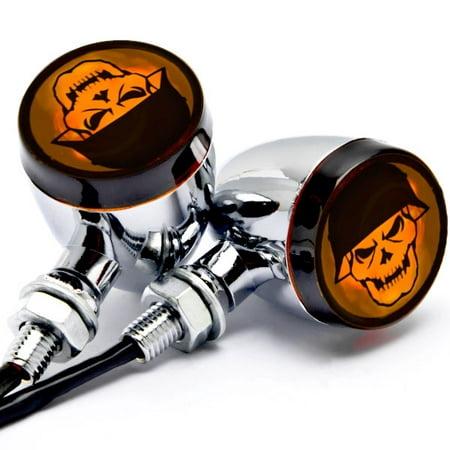 Krator 2pc Skull Lens Chrome Motorcycle Turn Signals Bulb For Harley Davidson Sportster Nightster Roadster - Chrome Motorcycle Accessories