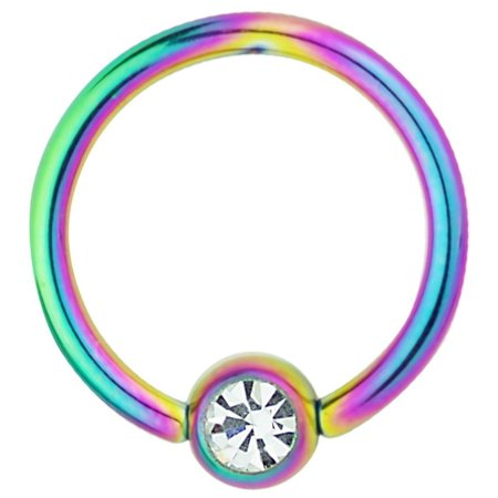 Flat Ring Cbr - 14g 1/2 Inch Surgical Steel Rainbow IP Plated Jeweled Captive Bead CBR Hoop Ring