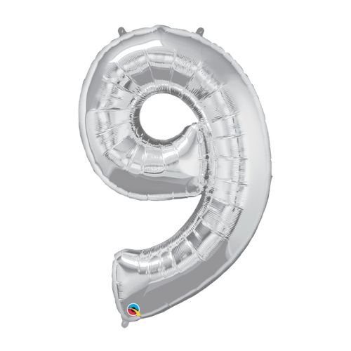 """Way to Celebrate 42"""" Number 9 Silver Balloon"""