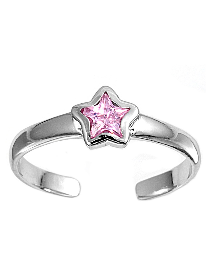 Simulated Amethyst Cubic Zirconia Star Knuckle/Toe Ring Sterling Silver