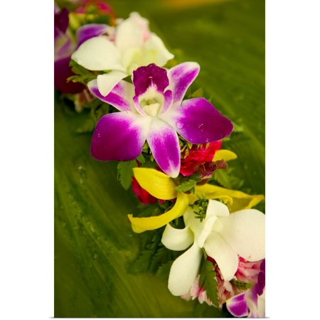 Great BIG Canvas   Rolled Dana Edmunds Poster Print entitled Close-Up Detail Of A Vibrant Colored Lei Made With Tropical Flowers - Leis Flowers