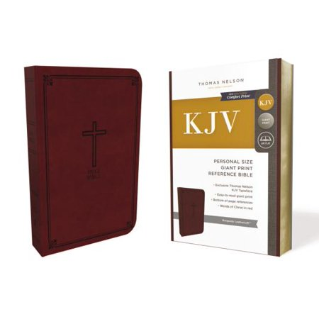 KJV, Reference Bible, Personal Size Giant Print, Imitation Leather, Burgundy, Red Letter Edition - Giant Letters