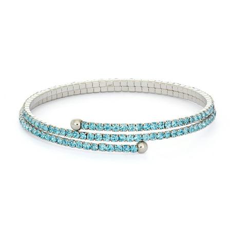 X & O Rhodium Plated Crystal Solid Pastel Tone Style Two Row Flex Bangle in Aquamarine Aquamarine Crystal Bracelet