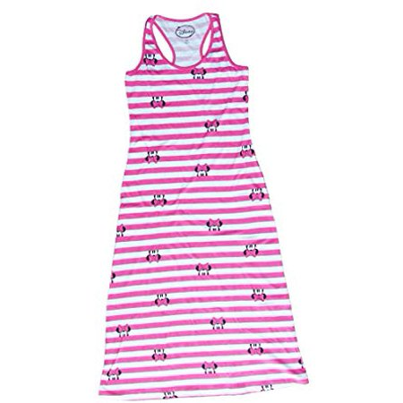Pink And White Minnie Mouse ([P] Disney Juniors' Minnie Mouse Peeking Striped Maxi Dress - Pink & White)