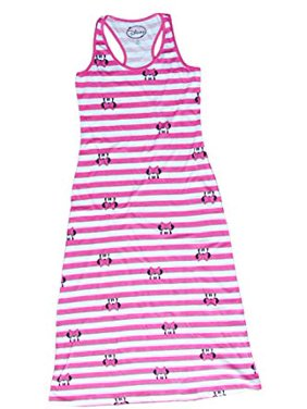 [P] Disney Juniors' Minnie Mouse Peeking Striped Maxi Dress - Pink & White (MD)