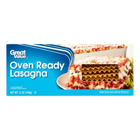 (8 Pack) Great Value Oven Ready Lasagna, 12 oz