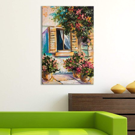 Wall26 Canvas Wall Art Of Portrait Of A Window With Flowers Oil Painting 16 X 24