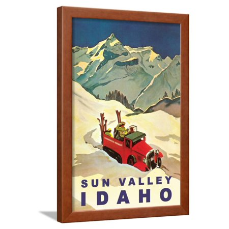 Sun Valley, Idaho, Vintage Truck with Skiers Framed Print Wall Art