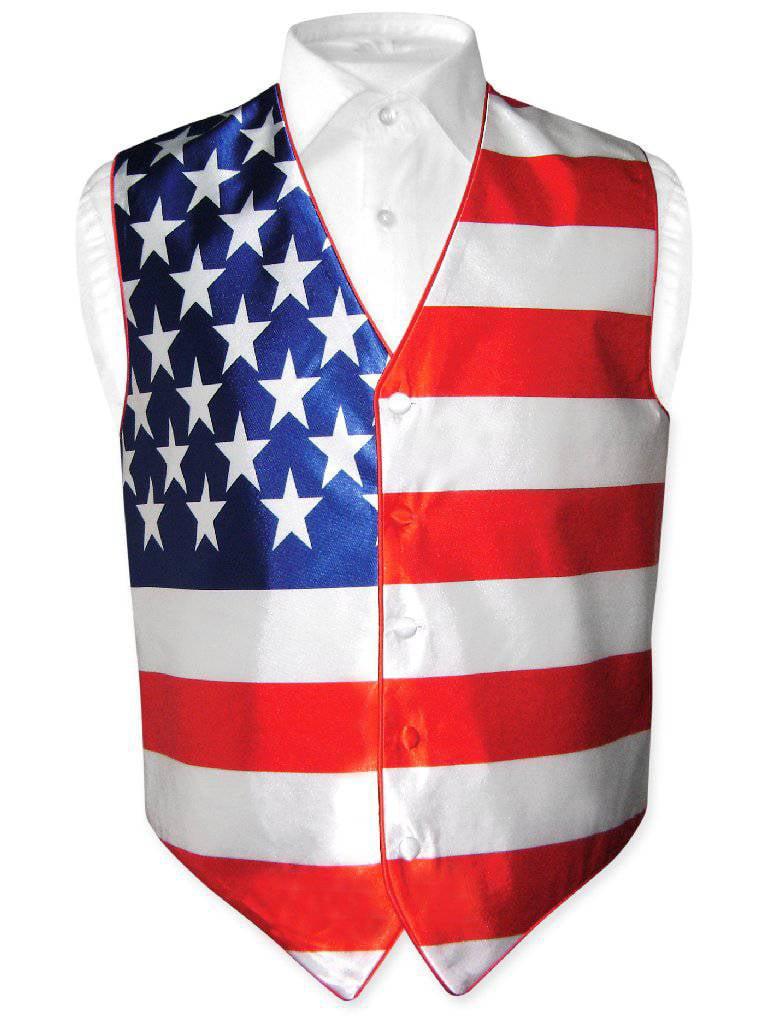 Men's American Flag Dress Vest for Suit or Tuxedo