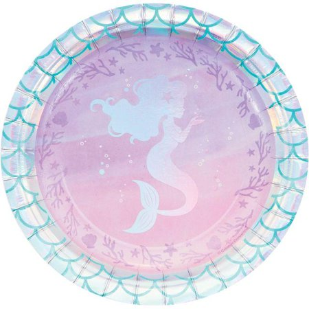 Creative Converting Iridescent Mermaid Party Dessert Plates, 8 ct](Mermaid Plates)