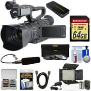 JVC GY-HM200U/250 Ultra 4K HD 4KCAM Professional Camcorder & Top Handle Audio Unit with XLR Microphone 64GB Card LED Video Light HDMI Cable Reader Kit