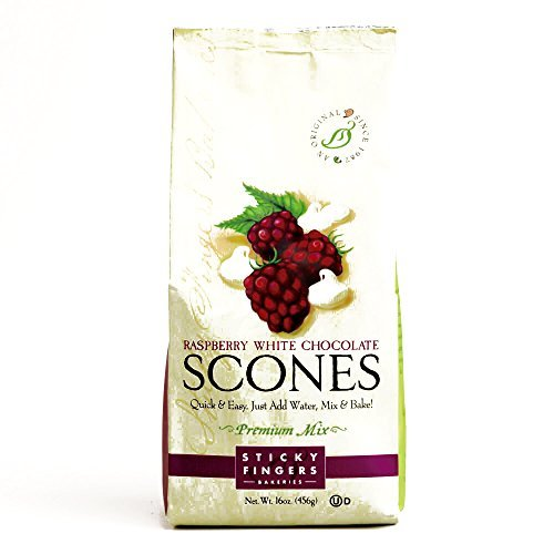 Sticky Fingers Bakeries Raspberry White Choco Scone 16 oz each (2 Items Per Order) by