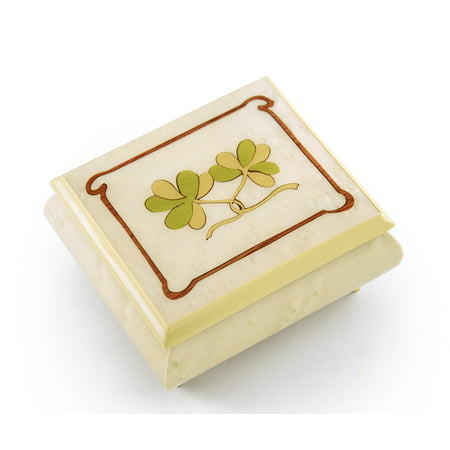 Astonishing Hand Inlay Of An Irish Celtic Shamrock Sorrento Musical Box, Music Selection - Chestnuts Roasting On An Open (Cry Little Sister Thou Shall Not Fall)