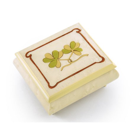 Astonishing Hand Inlay Of An Irish Celtic Shamrock Sorrento Musical Box, Music Selection - Chestnuts Roasting On An Open