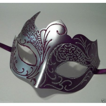 Purple Gray Silver Venetian Mask Masquerade Mardi - Purple Venetian Mask