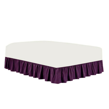 The Great American Store Premium 1800 Series Brushed Microfiber Easy Fit Gathered Style Ruffled Bed Skirt - 23 Inch Drop Length (King Size, Solid Eggplant) - Covers Bed Legs & Frame