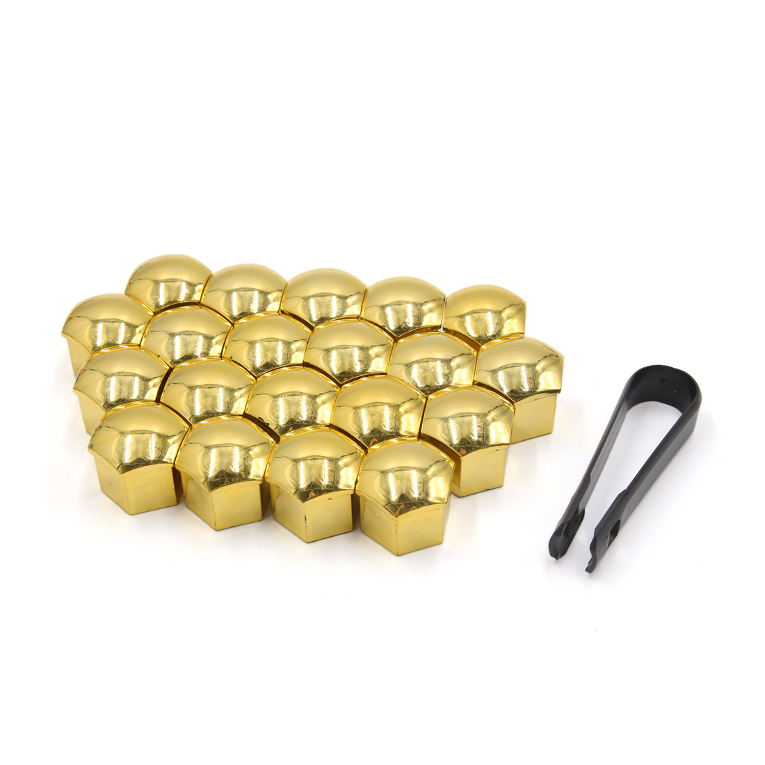 20pcs 17mm Gold Tone Plastic Car Wheel Lug Nut Bolt Cover Caps with Removal Tool