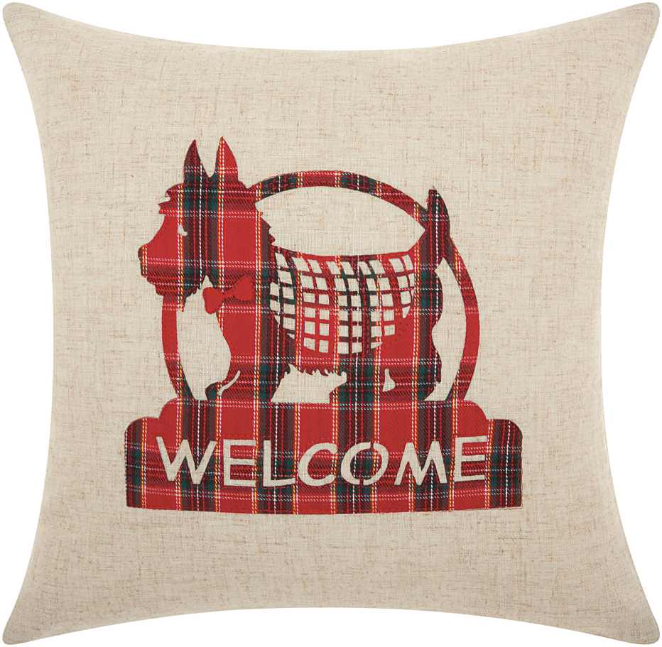 "Nourison Home For The Holiday Welcome Scottie Throw Pillow, 17"" x 17"", Natural"