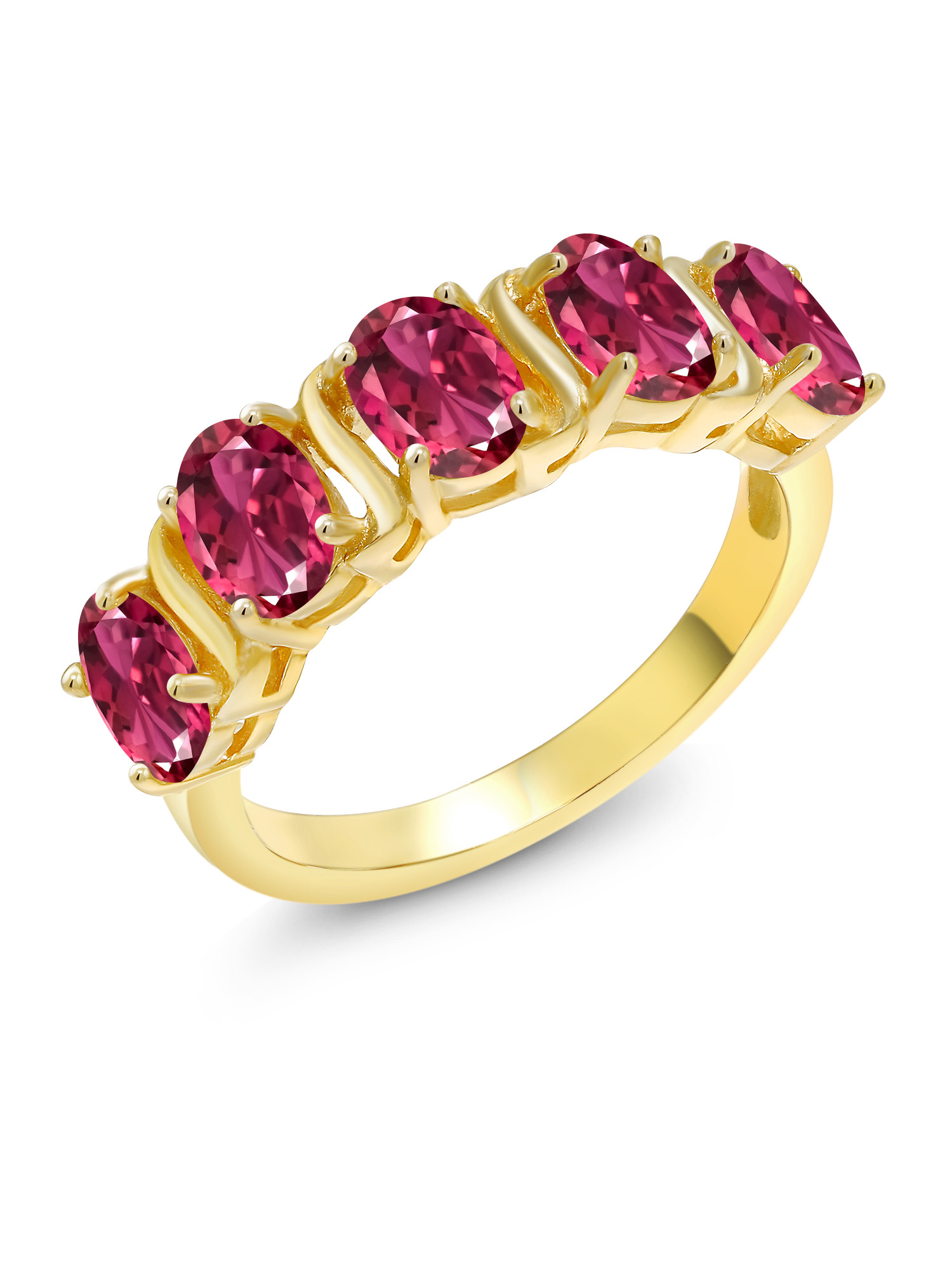 1.90 Ct Oval Pink Tourmaline 18K Yellow Gold Plated Silver Ring by