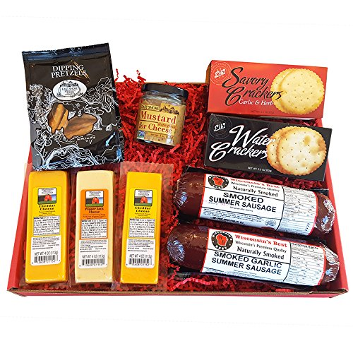 Deluxe Men's Gourmet Gift Basket- features Smoked Summer Sausages, 100% Wisconsin Cheeses,... by