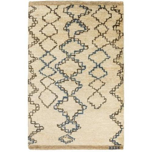 4' x 6' Tribal Lineage Taupe, Dark Navy and Colbalt Blue Area Throw Rug