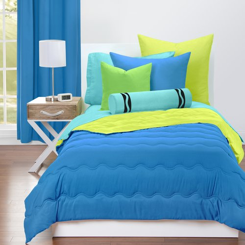 Crayola Cerulean and Granny Smith Apple Reversible Comforter Set