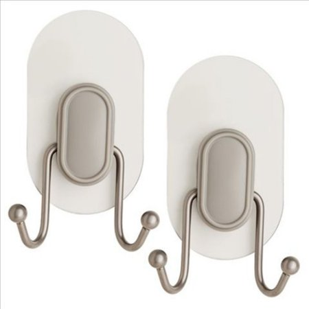 Franklin Brass Double Prong Robe Hook with Clear IncrediGrip Pad, Available in Multiple Colors