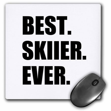 3dRose Best Skiier Ever - fun gift for talented skier - winter sports athlete, Mouse Pad, 8 by 8